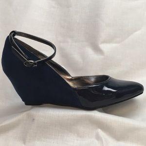 Liz & Co Navy Blue Ankle Strap Wedges
